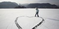 Heart on snow on Valentine's Day