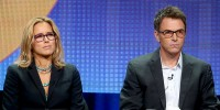 Actors Tea Leoni (L) and Timothy Daly speak onstage at the 'Madam Secretary' panel during the 2014 Summer Television Critics Association  July 17, 2014.